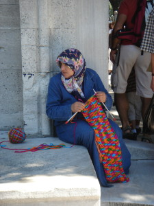 Knitting in Istanbul. Sept. 2005.